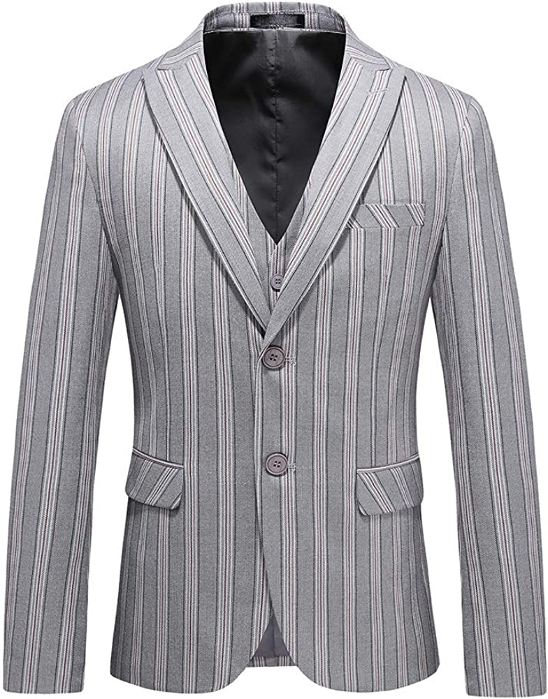 YFFUSHI Mens 3 Piece Slim Fit Suit 2 Buttons Classic Stripe Casual Business Daily Dress Set