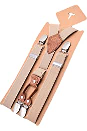 MENDENG Adjustable Braces Elastic 4 Clips Leopard Suspenders for Boys and Girls