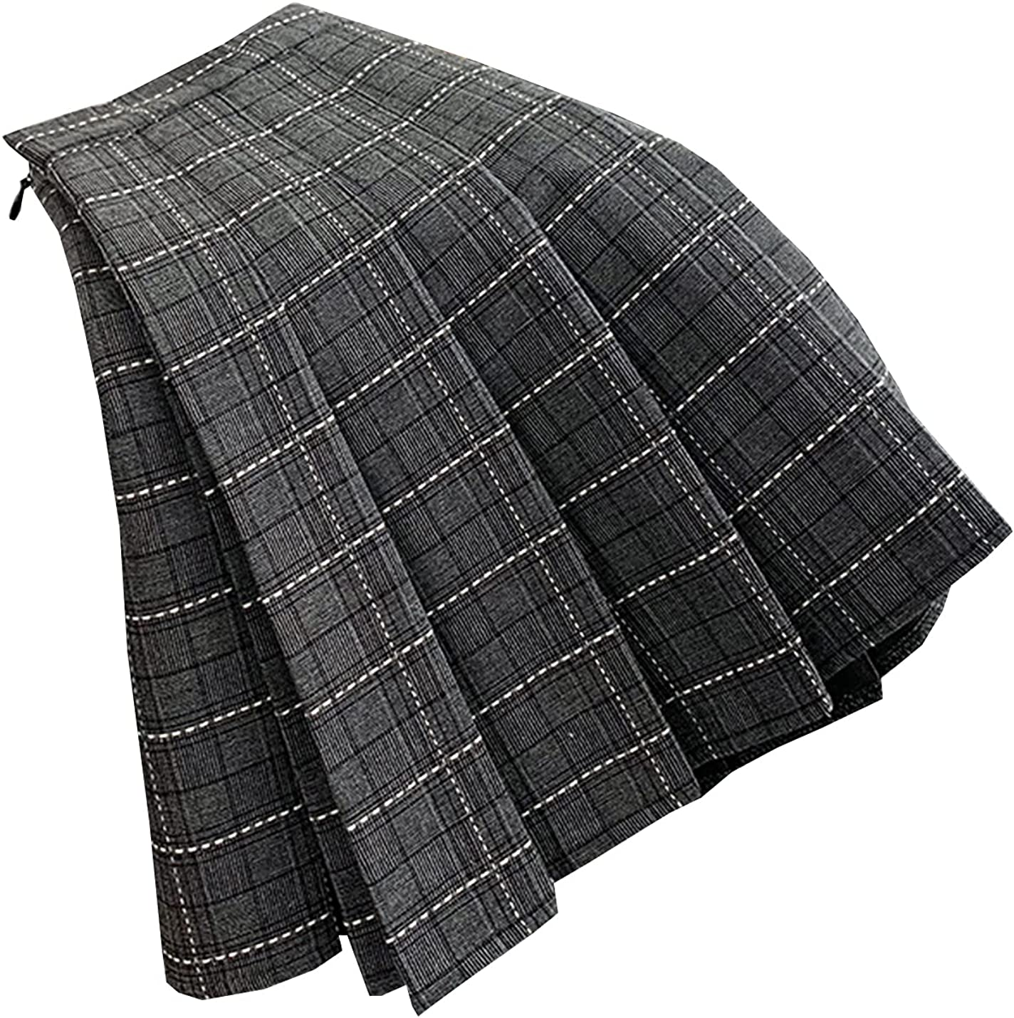 IKIIO Women's Fashion Casual Loose Fit Pleated High Waisted Plaid Skirt A Line Skirts