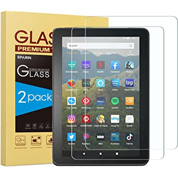[2-Pack] All-New Fire HD 8 / Fire HD 8 Plus Screen Protector, SPARIN Tempered Glass Screen Protector for Fire HD 8 / Fire HD 8 Plus/Fire HD 8 Kids 2020 Released, Scratch Resistant/Easy Installation
