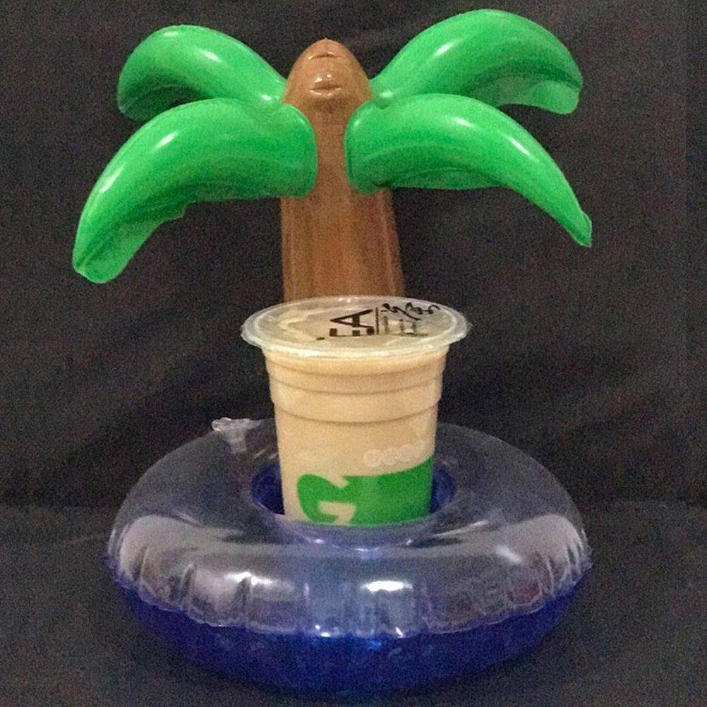 Amosfun Hawaii tem/ática Titular de Bebida de Coco sostenedores de la Taza Flotante Posavasos para Piscina Suministros para Fiestas