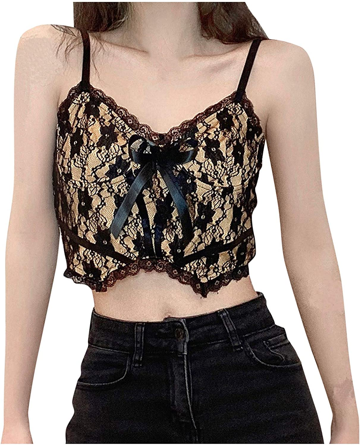 Women Fashion Sexy Wrapped Chest Lace Stitching Tank Tops Cute Bow Slim Fit Short Camisole Crop Top Shirts