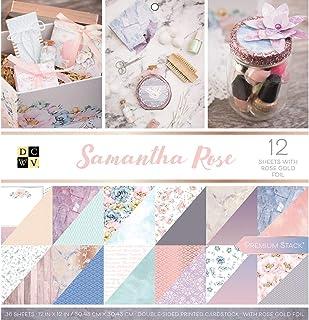 DCWV Samantha Rose Premium Printed Cardstock Stack, PS-005-00593, Original Version, 12-x-12-Inch