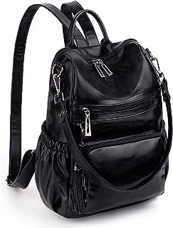UTO Rucksack Damen PU Leder Veganes Leder Cabrio Quaste Reißverschluss Tasche Farbe Schwarz