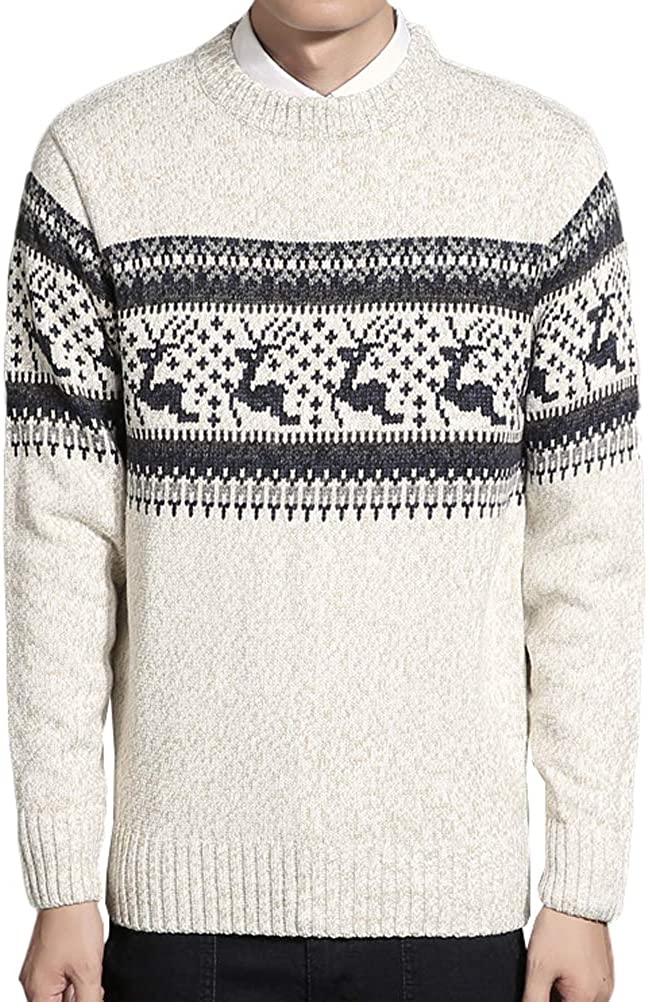 Lavnis Pullover Crewneck Knitted Sweater Long Sleeve Christmas Reindeer Sweaters for Men