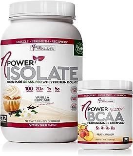 nPower Vanilla Cupcake Grass Whey Protein Powder and Peach Mango BCAA Collagen Bundle