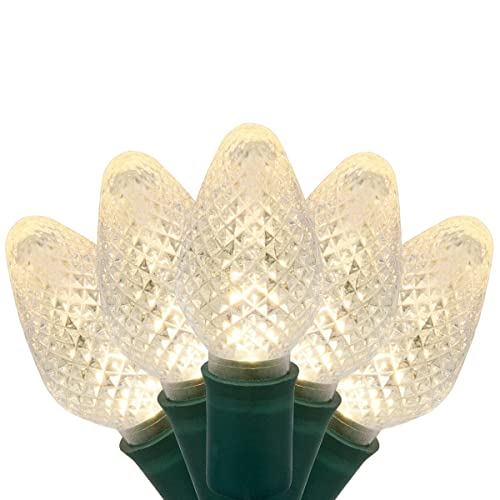 C7 LED Faceted Warm White Prelamped Light Set, Green Wire - 25 C7 Warm White