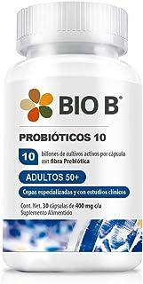 Bio B Probióticos Adultos 50+ con 10 billones UFC y cepas especializadas + prebióticos | 30 cápsulas veganas