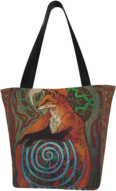 Fox Art Animals National Themed Printed Women Canvas Handbag Zipper Shoulder Bag Work Booksbag Tote Purse Leisure Hobo Bag For Shopping