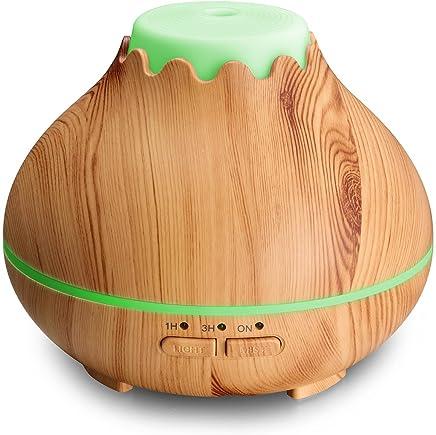 新型ミニ卓上アロマディフューザー 小型超音波式加湿器 省エネ 静音 ムードランプ 時間設定 木目調(150ml)