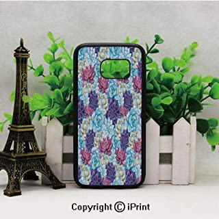 Hand Drawn Pattern with Artistic Flowers Vibrant Exotic Boho Botany Samsung S7 Case for Girls Women Hard Back Shock Drop Proof Impact Resist Protective Case for Samsung S7 Sky Blue Purple Cream