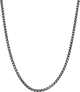 Oxidized Sterling Silver 1.7 mm Round Box Chain Necklace (18, 20, 22, 24, 30 or 36 inch)