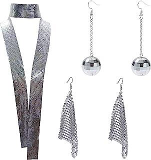 Lomodo Trendy Glitter Sparkle Metal Sequins Scarf, Tassel Drop Dangle Earrings and Disco Ball Earrings for Women Girls, Si...
