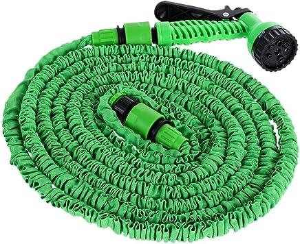 Demiawaking Tubo da Giardino Estensibile Tubo Acqua Giardino Flessibile con Pistola a Pressione Raccordi Connettore per Irrigazione del Giardino Lavaggio Auto (15M)