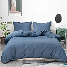 Simple&Opulence French Linen Duvet Cover Set 3 Piece Comforter Cover Sets Solid Color Ultra Soft Luxury Bedding Set with 2...