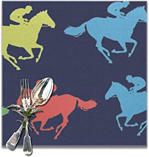 shower curtain doormat Colorful Horse Racing Placemats for Dining Table,Washable Placemat Set of 6, 12x12 inches