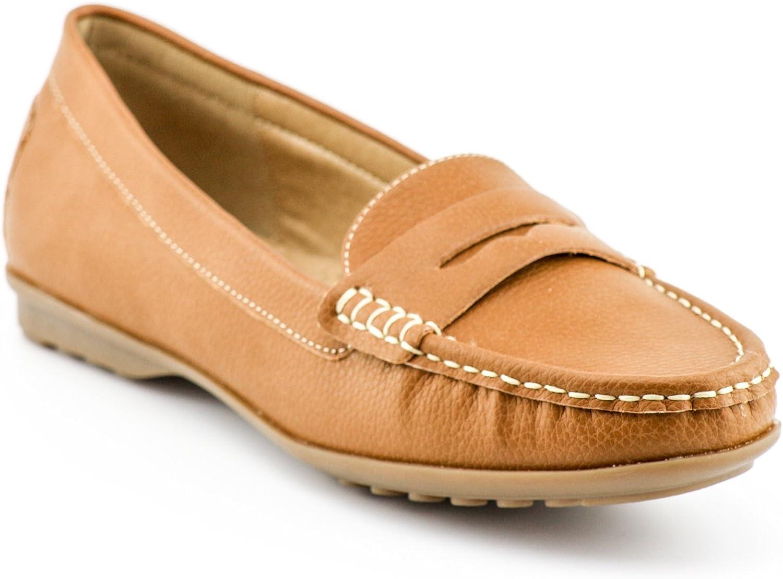 Calico KiKi LANDA-CK02 Women's Slip On Comfort Leather Flat shoes Loafers (8 US Camel)