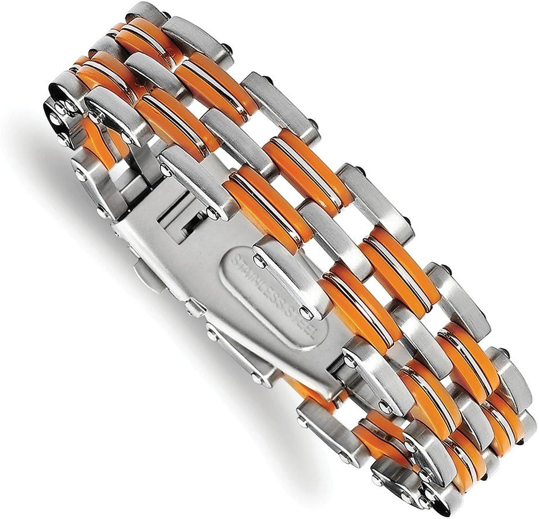 Beautiful Stainless Steel orange Rubber 8in Bracelet