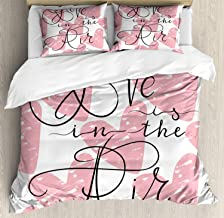 Saying Duvet Cover Set, Bed Sheets, Ink Brush Love is in The Air Calligraphy on Grunge Hearts, Decorative 3 Piece Bedding Set with 2 Pillow Shams, Twin Size, Charcoal Grey Pale Pink White