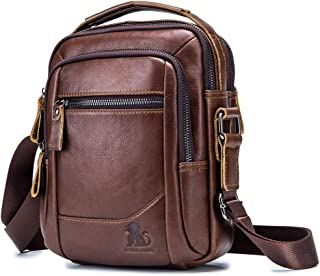 Men's Shoulder Bag, Popoti Handbag Crossbody Bag Leather Shopping School Backpack Messenger Carrying Bags Tote Wallet Multifunction Small Pocktes (Brown)