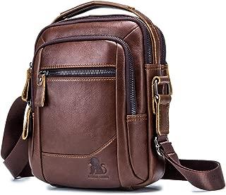 Men's Shoulder Bag, Popoti Handbag Crossbody Bag Leather Shopping School Backpack Messenger Carrying Bags Tote Wallet Multifunction Small Pocktes (Brown)