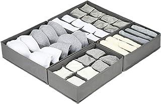 Lot de 4 Tissu Oxford Organisateur Tiroir à Compartiment Elargis , Pliable Rangement Sous Vetement Organisateur de Tiroir...