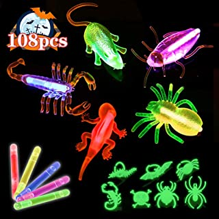 Acekid Glow Sticks Bulk, 108pcs Glow in The Dark Party Supplies, Light Up Necklaces for Kids and Adults(40 Glow Sticks+20 Bugs +20 Ropes+28 Rings)