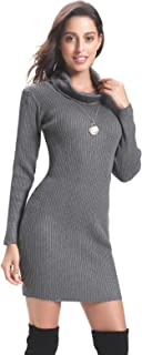 Women Long Sleeve Turtleneck Cable Knit Sweater Dress Slim Pullover