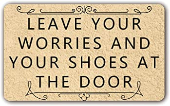Personal Design Doormat Leave Your Worries and Your Shoes at The Door Entrance Mat Indoor Outdoor Mat NonWoven Fabric Top ...