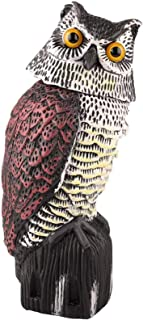 Sponsored Ad - UOFEIVS Fake Owl Decoy Statue with 360 Rotating Head, Realistic Garden Scarecrow for Scare Bird/Squirrels/R...