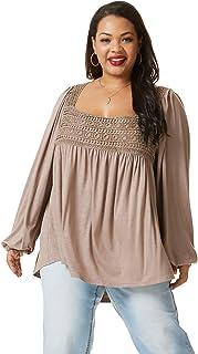 SONJA BETRO Women's Knit Lace Trim Square Neck Long Sleeve Tunic Plus Size