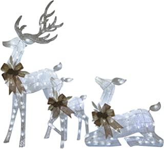 KING OF CHRISTMAS Sparkling Glitter Deer Family with 240 Cool White LED Twinkling Lights