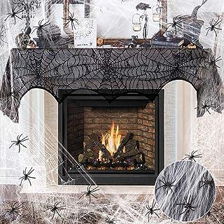 Décorations d'Halloween Toile D'araignée, yotame Halloween Decoration Écharpe de Cheminée d'Araignée Noir avec Toile d'ara...