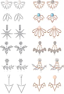 6-12 Pairs Lotus Flower Earring Studs Chic CZ Earrings Jackets For Women Girls Silver Rose Gold Tone