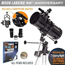 Celestron PowerSeeker 127EQ Newtonian Reflector Telescope with Smartphone Adapter - Limited Edition Apollo 11 50th Anniversary Bundle with Commemorative Coin and Book (Renewed)