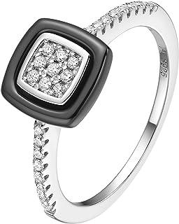 Fei Liu 黑色陶瓷方晶锆石戒指 - 尺码 M *佳礼物 925 纯银礼盒包装