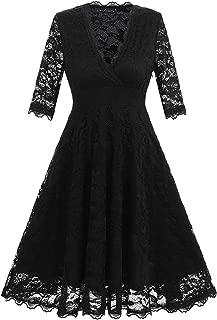 Women's Long Sleeve V Neck Lace Party Dress