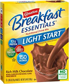 Carnation Breakfast Essentials Light Start Powder Drink Mix, Rich Milk Chocolate, 8 Packets (Pack of 8 Boxes)