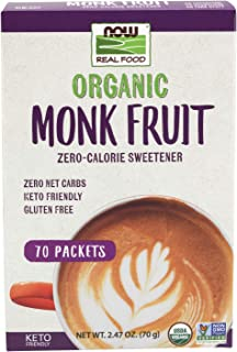 NOW Foods, Organic Monk Fruit, Zero-Calorie Sweetener, Gluten-Free and Non-GMO, 70 Packets