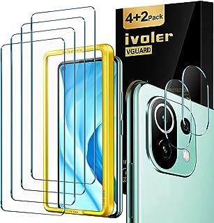 iVoler 4 stycken skottsäkert glas skyddsfolie kompatibel för Xiaomi Mi 11 Lite 4G och 5G, med 2 stycken kamera pansarglasf...