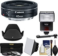 Canon EF 40mm f/2.8 STM Pancake Lens with 3 UV/CPL/ND8 Filters + Hood + Flash & Video Light + Diffuser + Soft Box + Kit for EOS 6D, 70D, 5D Mark II III, Rebel T3, T3i, T4i, T5, T5i, SL1 DSLR Cameras