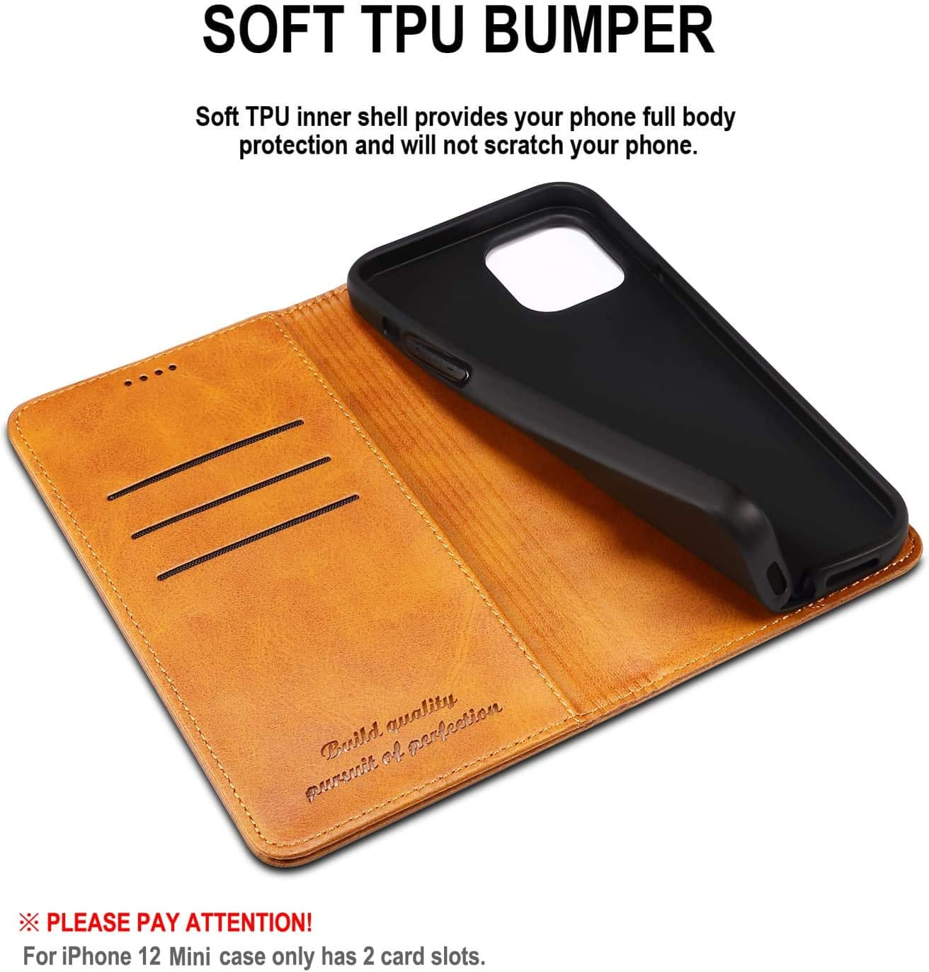 SINIANL Compatible with iPhone 12 Case, iPhone 12 Pro Wallet Case with Card Holder, Leather Book Folding Folio Case with Kickstand Magnetic Closure flip Cover for iPhone 12/12 Pro 6.1 inch Brown