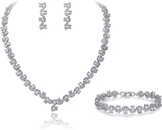 EVER FAITH Leaf Lace Full Pave Cubic Zirconia Wedding Necklace Bracelet Earrings Jewelry Set Silver-Tone