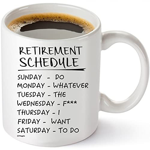 Muggies Retirement Schedule Funny Coffee Tea 11oz Mug Unique Cup For Birthday Mothers