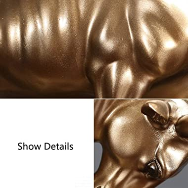 Resin Bull Statue Decoration Chinese Zodiac Animal Bull/Ox Home Office Table Top Sculptures Figurine Gift Collection,Gold (Co