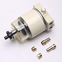 SEEU AGAIN R12T Fuel Filter Water Separator 120AT NPT ZG1/4-19 with Fitting Full Filter Replace For Car Racor R12T 10 Micron Marine Diesel Engine 3/8 Inch NPT Outboard Motor Durable Spin-on Housing
