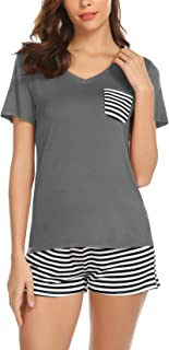 Women 2 Piece Pajamas Sets V Neck Tops and Striped Pants Cotton Nighty Loungewear PJ Sets