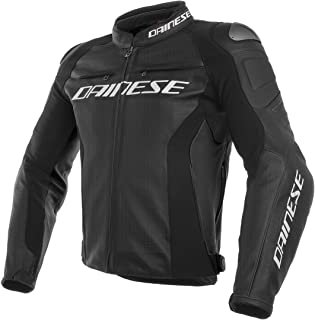 Dainese Racing 3 Perforated Leather Men's Street Motorcycle Jackets - Black/Black/Black / 56