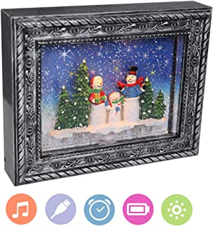 Eldnacele Water Glitter Photo Frame with Music and Timer, Lighted Snow Globe Swirling Battery Operated and USB Lined Home Centerpiece for 2019 Christmas and New Year Decoration, Snowmen, Silver Color