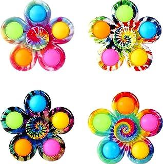 AHURGND 4 stks Fidget Spinner Pops Spinners Speelgoed, Fidget Toy, AM-ONG US Sensory Fidget Speelgoed Set, Tie-Dye Bubble ...